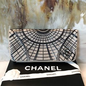 Chanel Gray & Black Sequin CC Flap Clutch
